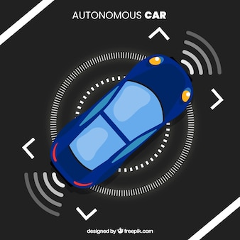 Top view of futuristic autonomous car with flat design