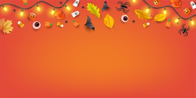 Top view halloween candy party background with candy, eyeballs, spiders, bats and pumpkins. vector