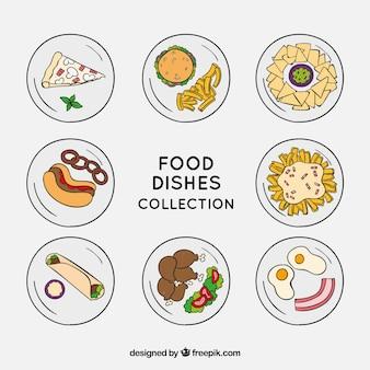 Vista dall'alto di piatti di cibo disegnato a mano
