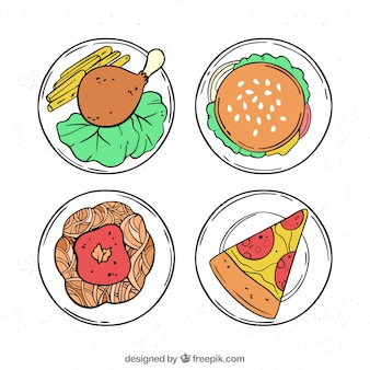 Top view of hand drawn food dishes