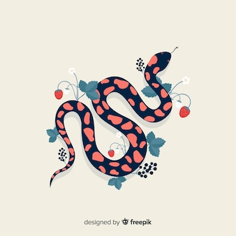 Top view hand drawn snake with flowers background