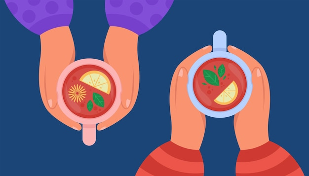 Top view of hands holding cups of drink with lemon. flat illustration