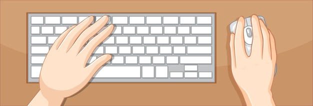 Top view of hands using keyboard and mouse on the table