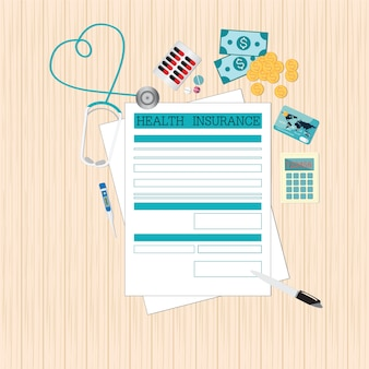 Top view of health insurance form life planning.