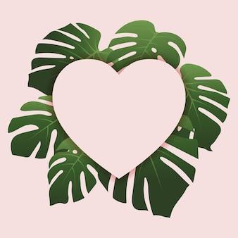 Рамка в форме сердца, вид сверху, подиум, с листьями монстеры