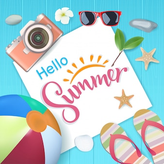 Top view, hello summer with copy space for text on blue wooden, vector illustration.