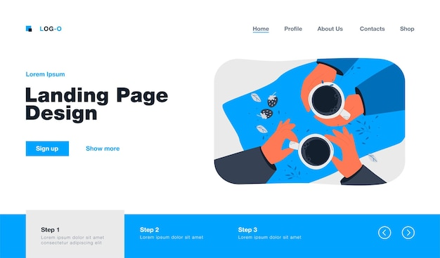 Top view of human hands holding cups landing page in flat style.
