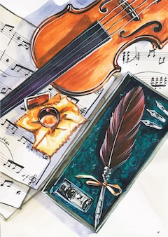 Top view illustration of musician workspace. violin, notes, pen. conceptual flatlay illustration of music and creation