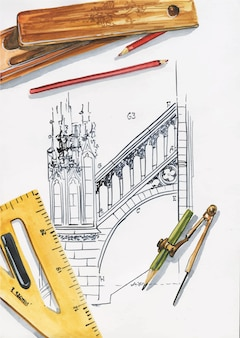建築家またはエンジニアの職場の上面図。定規、鉛筆、コンパス、筆箱、お絵かき。創造性の概念的なフラットレイイラスト