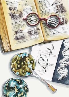 生物学者の職場の上面図。眼鏡、本、試験管、微生物、ピペット、ウイルス。医学または科学の概念的なフラットレイイラスト