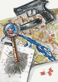 探偵または警官のワークスペースの上面図。銃、指紋、証拠、地図、拡大鏡、弾丸。犯罪の概念的なフラットレイイラスト