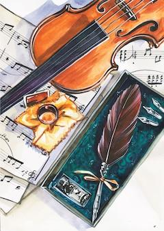 ミュージシャンのワークスペースの上面図。ヴァイオリン、ノート、ペン。音楽と創造の概念的なフラットレイイラスト