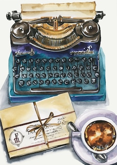 Top view illustration of writer workplace. vintage typewriter, manuscript, coffee cup, sheets of paper. conceptual flatlay illustration of writing, storytelling