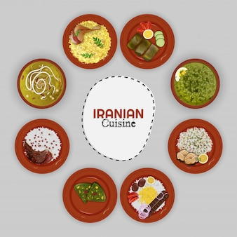 Top view of iranian cuisine collection.