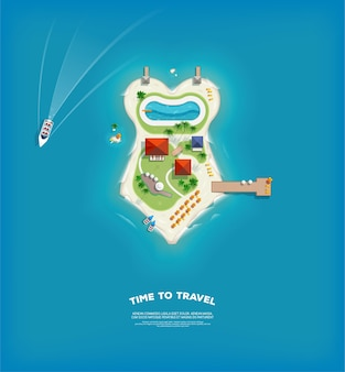 Top view of the island in the form of a swimsuit. time to travel and vacations poster. holiday trip. travel and tourism.
