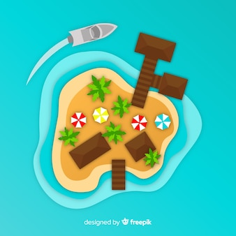 Top view island in paper style background