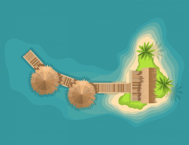 Вид сверху на остров. вид с высоты на тропический остров в океане. мультфильм тропический рай морской остров берег. хороший солнечный день