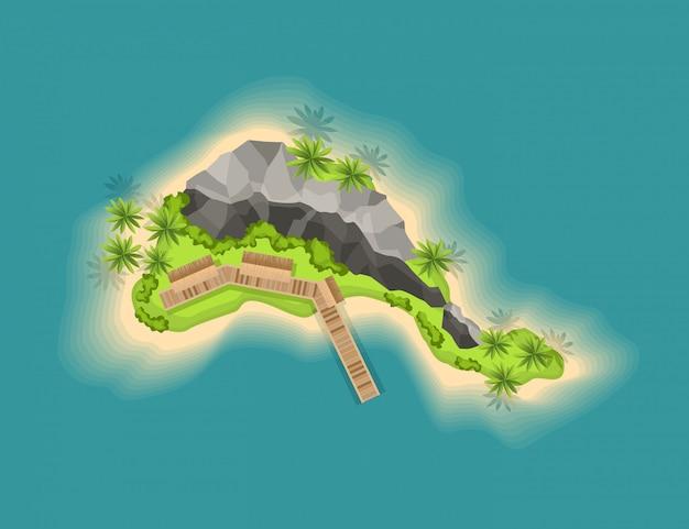Вид сверху остров с вулканом. вид с высоты на тропический остров в океане. мультфильм тропический рай морской остров берег. хороший солнечный день