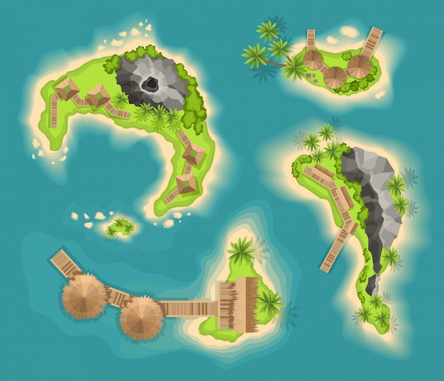Вид сверху острова с вулканом. вид с высоты на тропический остров в океане. мультфильм тропический рай морской остров берег. хороший солнечный день