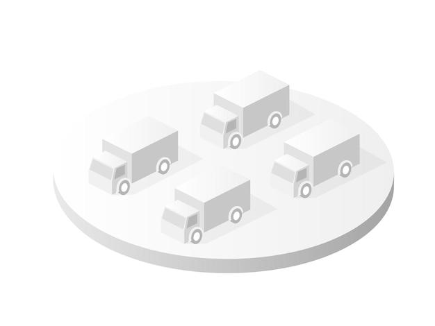都市の都市の車の上面の等角投影の白いアイコン