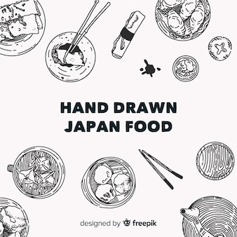 Top view of japanese dishes on restaurant table