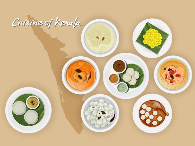 Top view of kerala cuisine set.
