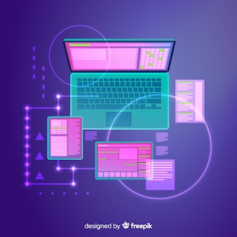 Top view laptop technology background