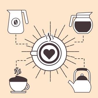 Верхний вид латте арт-кофе с чайником и чайником