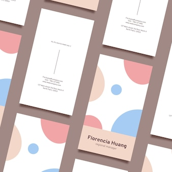 Top view minimal visit business card