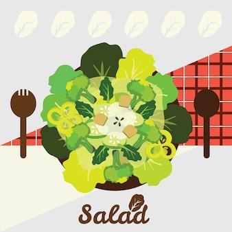 Top view of mixed salad bowl
