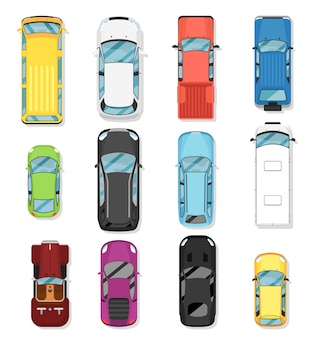 Top view modern city car isolated vector set