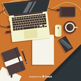 Top view of modern office desk with flat design