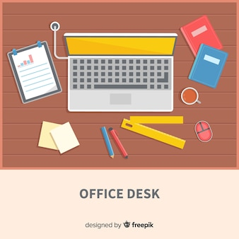 Top view of modern office desk