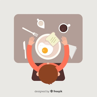 Top view of modern restaurant table with flat design