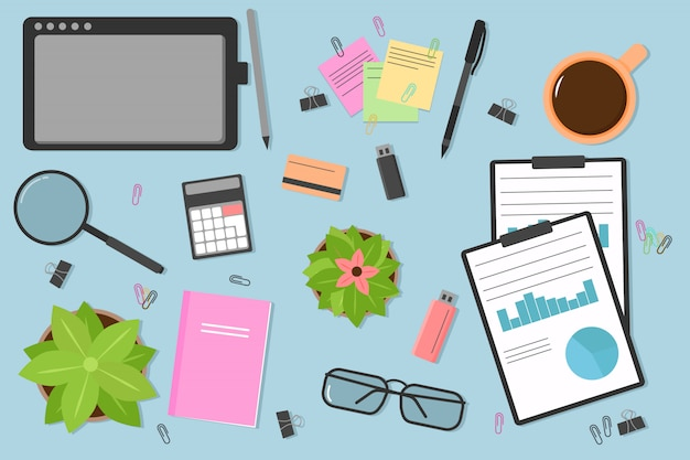 Top view of a modern and stylish workplace. desktop workplace background. laptop, computer, folder, documents, notepad, business card, coffee, flash drive, glasses, pencil, pen. illustration.