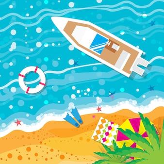 Вид сверху моторной яхты. пляжный отдых. летний отпуск.