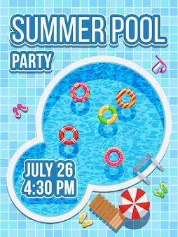 Top view nobody swimming pool with blue water. vector design for party invitation