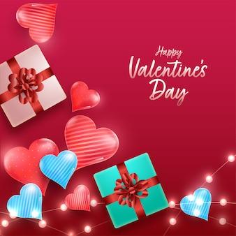 Вид сверху подарочных коробок 3d с глянцевыми сердцами и украшенными гирляндами освещения