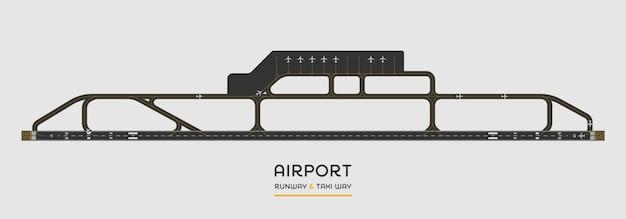 Вид сверху взлетно-посадочной полосы аэропорта и рулежной дорожки с самолетом