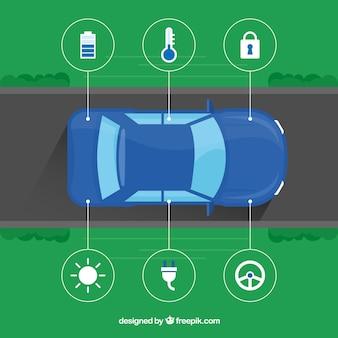 Вид сверху автономного автомобиля с плоским дизайном