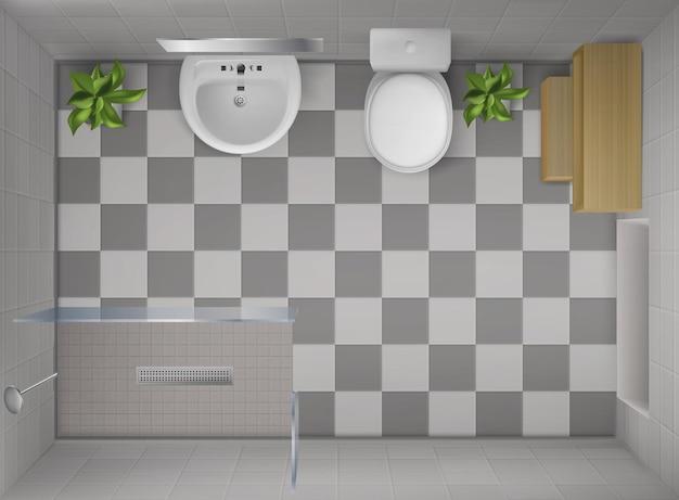 Вид сверху интерьера ванной комнаты