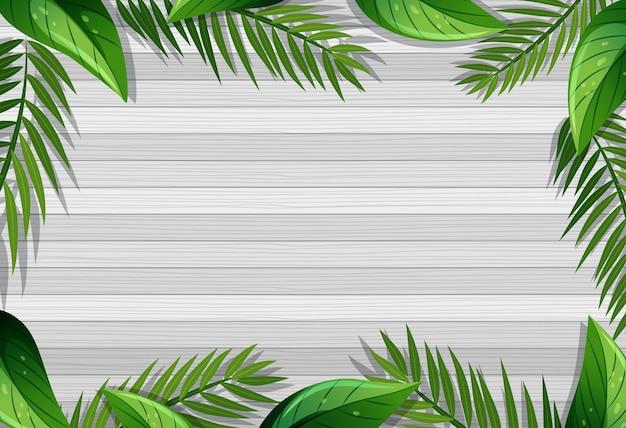 잎 요소와 빈 나무 테이블의 상위 뷰