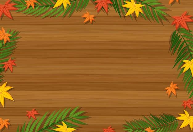다른 계절 요소에 잎 빈 나무 테이블의 상위 뷰