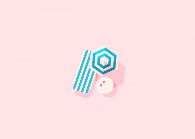 ピンクの背景にパラソル付きの青いストライプのデッキチェアとカクテル付きのテーブルの平面図です。創造的な最小限の構成、フラットレイアウト