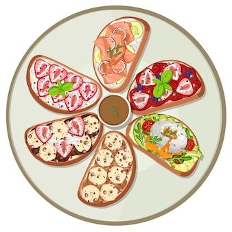 分離された朝食料理の上面図