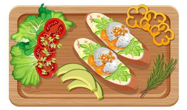 分離されたまな板に設定された朝食の上面図