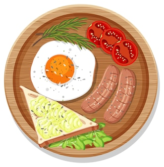 Вид сверху на завтрак, сервированный в блюде в мультяшном стиле, изолированные