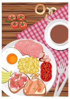 Вид сверху на завтрак в блюде с чашкой кофе на столе