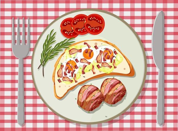 皿にセットされた朝食の上面図