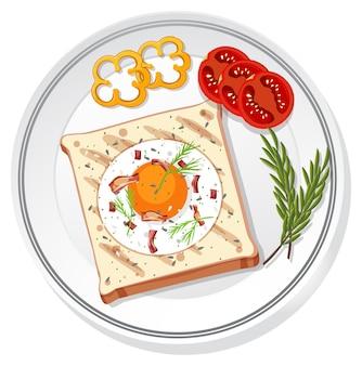 孤立した皿に設定された朝食の上面図